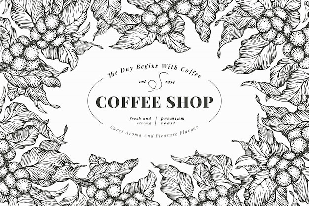 Coffee tree banner template. vector illustration. retro coffee frame. hand drawn engraved style illustration.