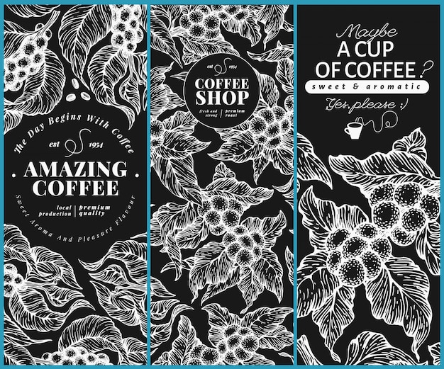 Coffee tree banner templates.