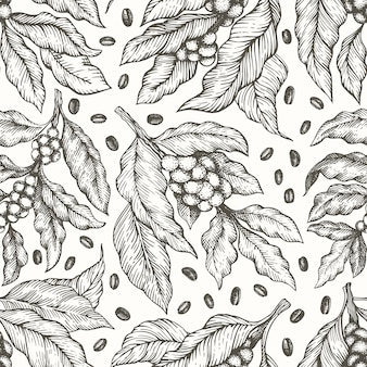 Coffee tree branch seamless pattern. vintage coffee engraved style.