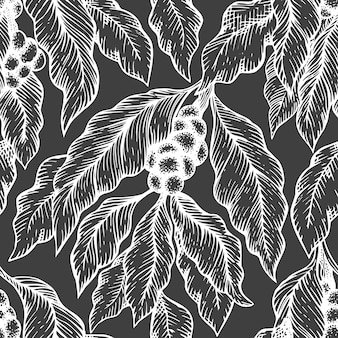 Coffee tree branch seamless pattern