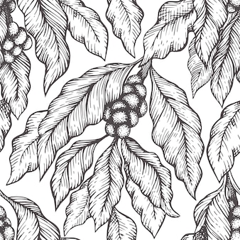 Coffee tree branch seamless vector pattern