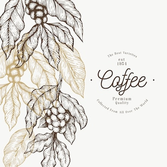 Coffee tree branch template