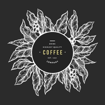 Coffee tree branch vector illustration. vintage coffee. hand drawn engraved style illustration on chalk board.