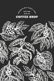 Coffee tree branch vector illustration. vintage hand drawn engraved style illustration