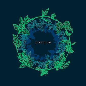 Coffee tree. neon design in circle. graphic illustration