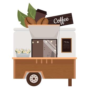 커피 트럭 일러스트 거리 음료 버스 빈티지 버스 커피 숍 프리미엄 벡터