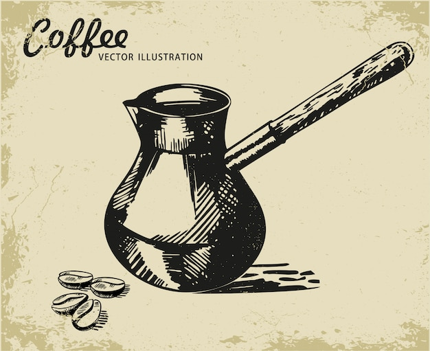 Coffee turk vector sketch