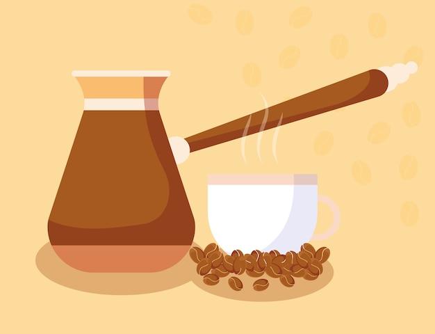 음료 카페인의 커피 터키 냄비 컵과 콩 디자인