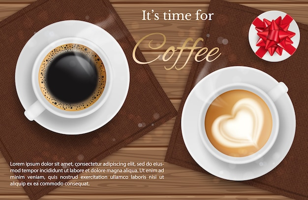 Coffee for two - realilstic coffee cup top view and present, coffee break background