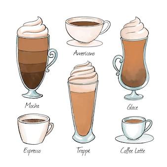 Tipi di caffè in tazze fantasia
