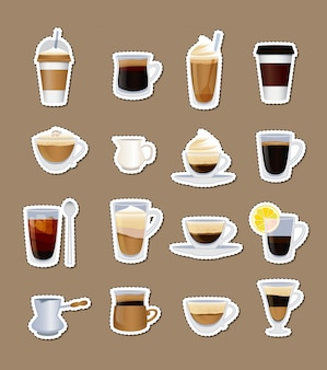 Coffee types stickers of set isolated on plain