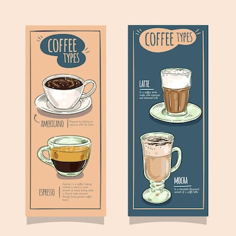 Coffee types vertical banners design