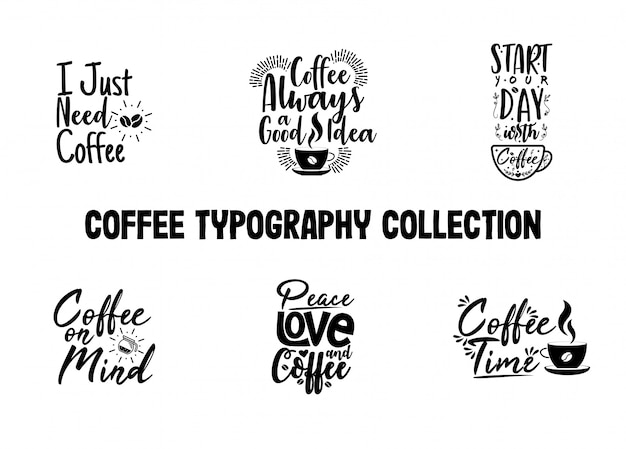 Coffee typography collection for cafe decoration