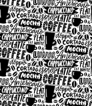 Кофе типографии шаблон бесшовные фон кафе обои слова капучино американо