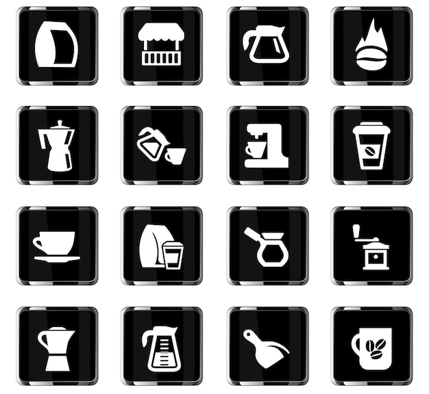 Coffee vector icons for user interface design