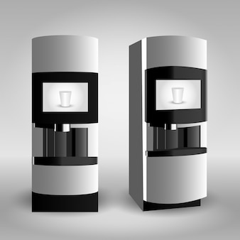 Coffee vending machine on grey background