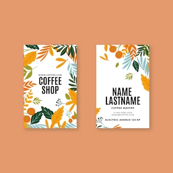 Шаблон кофейной вертикальной визитки
