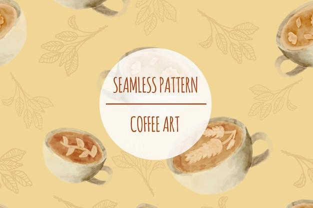 커피 수채화 원활한 패턴 프리미엄