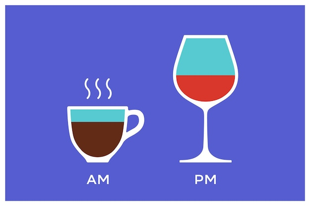 Coffee and wine with symbol defferent time