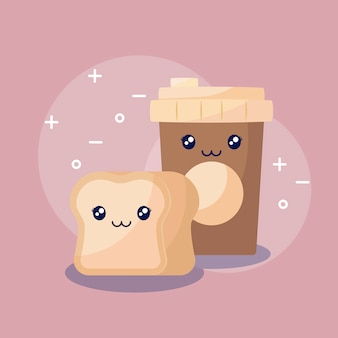 Coffee with bread kawaii character