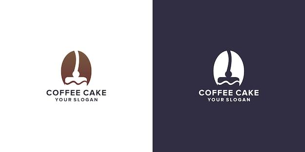 케이크 로고가 있는 커피