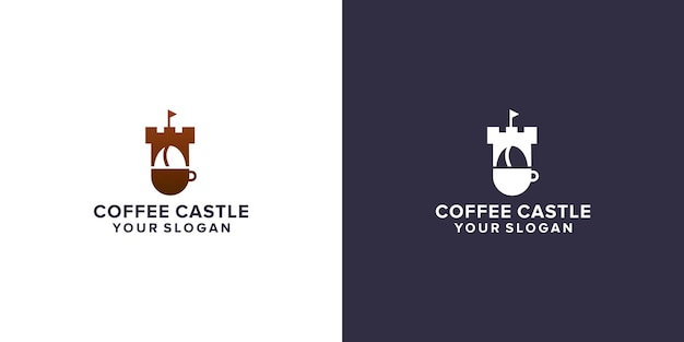 Coffee with castle logo design