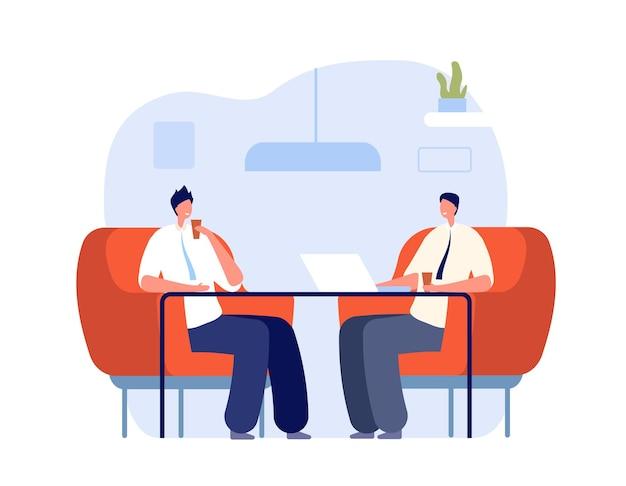 同僚とのコーヒー。オフィスはリラックスし、プロは休憩に取り組んでいます。ビジネス企業のランチドリンク、インタビューまたはラウンジゾーンベクトルの概念。ビジネスコミュニケーション、人との出会いのイラスト