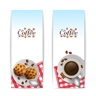 Coffee with cookies breakfast banners set