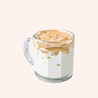 クリーム入りコーヒー。ベクトルイラスト