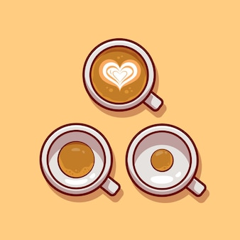 Coffee with foam. flat cartoon style