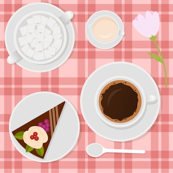 Coffee with milk and cake on the table illustration.