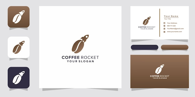Coffee with rocket logo and business card
