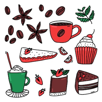 Coffee with spices and desserts doodles set of strawberry tartlet cupcake chocolate cherry cake