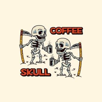 두 개의 해골 현대적인 스타일의 커피