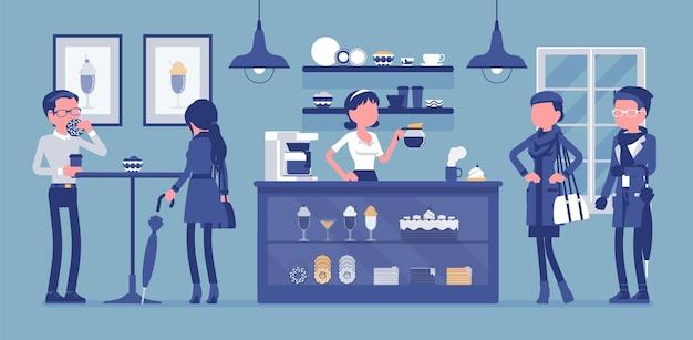喫茶店のバリスタと喫茶店の訪問者。人々は飲み物、ラテ、カプチーノ、エスプレッソ、甘い品揃えを売る若い女性を楽しんでいます。中小企業のアイデア。
