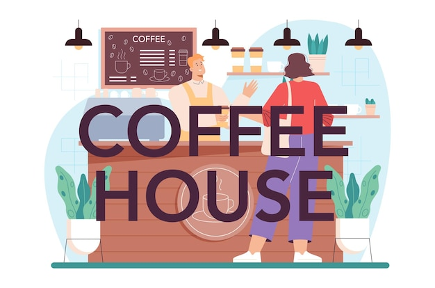 뜨거운 커피 한 잔을 만드는 다방 활자체 헤더 바텐더