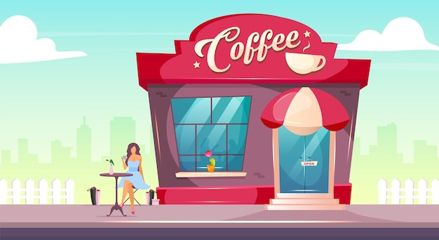 Coffeeshop on sidewalk flat design color illustration