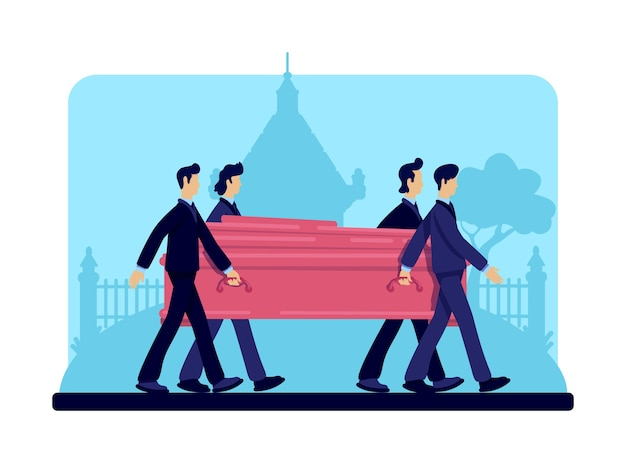 Coffin bearers flat color . funeral procession. burial ceremony. ritual service. male in suits 2d cartoon characters with tombstones and crypt on background