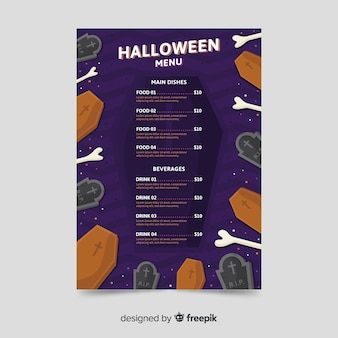 Coffin and bones menu template