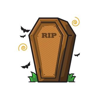Coffin halloween cute line art illustration