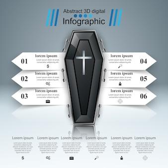 棺アイコン。ビジネスインフォグラフィックス。