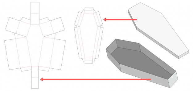 Coffin shaped box and lid die cut template