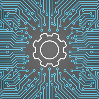 Cog wheel over computer chip moterboard background network data center system concept banner