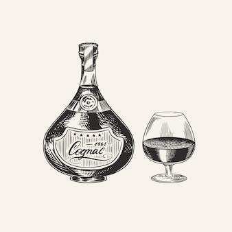 Бутылка коньяка и стеклянный кубок. гравировка рисованной старинный эскиз. стиль гравюры на дереве. иллюстрация.