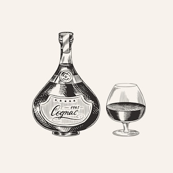 Cognac bottle and glass goblet. engraved hand drawn vintage sketch. woodcut style.  illustration.