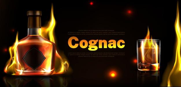 Cognac in bottiglia e bicchiere banner promozionale