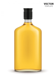 Cognac, whiskey or brandy bottle isolated