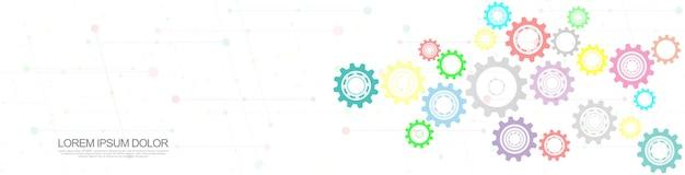 歯車と歯車のメカニズム。ハイテクデジタルテクノロジーとエンジニアリング。抽象的な技術的背景。
