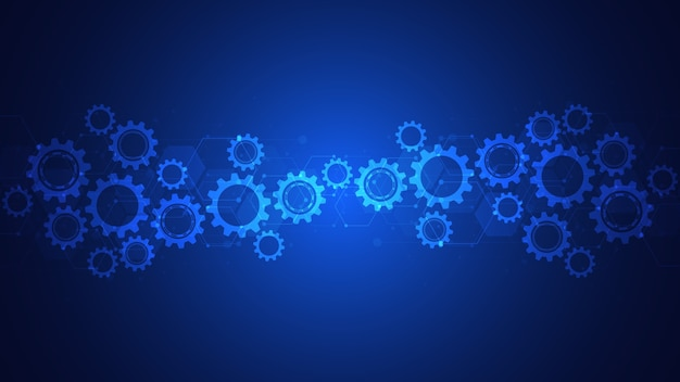 Зубчатые и шестеренные механизмы. высокотехнологичные цифровые технологии и инженерия. абстрактный технический фон.
