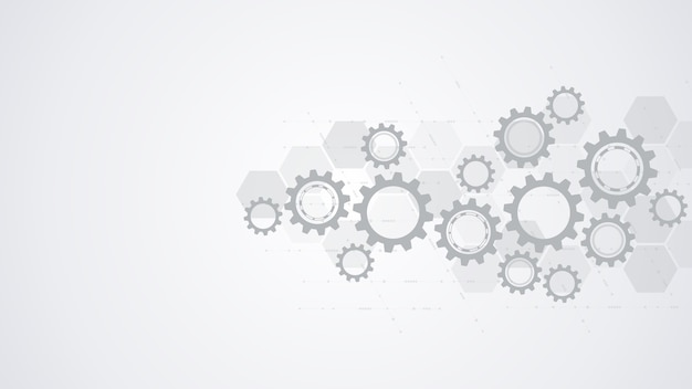 Cogs and gear wheel mechanisms design Premium Vector